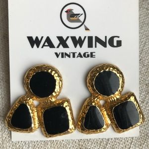 Vintage heavy gold-tone black enamel earrings